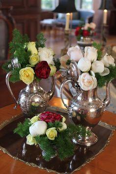 Beautiful roses in vintage silver tea set.../