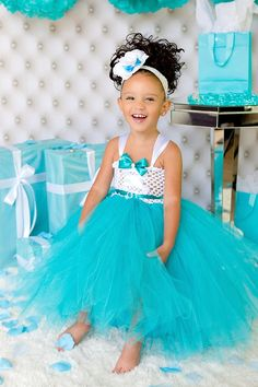 Tiffany and co Inspired Tutu Dress-Flower Girl Dress- tiffany and co wedding  Www.pinktoesnhairbows.com