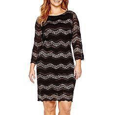 jcp | Blu Sage 3/4-Sleeve Chevron Lace Sheath Dress - Plus