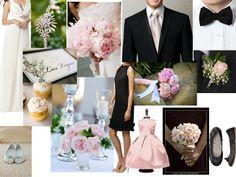black,pink,white : PANTONE WEDDING Styleboard : The Dessy Group