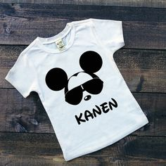 Toddler Boy White Tee - Personalized Cool Mickey Mouse with Sunglasses and NAME - Custom Boy Disney Shirts - Disney Family Vacation Shirts