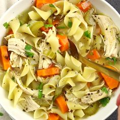 Homemade Chicken Noodle Soup is incredibly easy and you won't believe the flavor! This Homemade Chicken Noodle Soup is made from scratch, with plenty of chunky vegetables, herbs, and a homemade broth, just like Grandma used to make! Chicken Soup Recipes, Homemade Chicken Noodle Soup Recipe, Crockpot Chicken Noodle Soup, Chicken Noodles, Canned Chicken, Hamburger Recipes, Homemade Soup, Cooking Recipes, Healthy Recipes