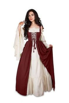 db70d2bc5d3ba Amazon.com  Renaissance Medieval Irish Costume Chemise and Over Dress  Fitted Bodice  Clothing