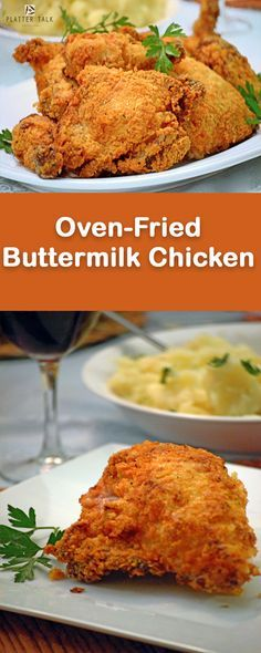 Enjoy the classic taste of fried chicken with less fat and calories, from your own kitchen, with this easy recipe of oven-fried buttermilk chicken. Oven Chicken, Baked Chicken, Baked Buttermilk Chicken, Roasted Chicken, Fried Chicken Dinner, Chicken Gyros, Chicken Gravy, Chicken Wings, Tandoori Masala