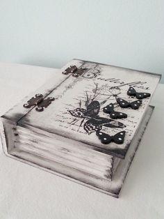 Large Wooden Box - Romantic Vintage Style Box - Shabby Jewelry Box - Decoupage Ivory - Gift - Home Decor - Handmade Jewelry Box