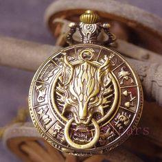 Cloud Wolf Retro 12 Constellation Zodiac Pocket Watch - Watches | RebelsMarket