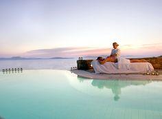 Mykonos Grand is a 5 star Mykonos luxury hotel resort & spa at Ayios Yiannis beach, Mykonos (Myconos), Greece. Experience the best luxury hotel in Mykonos. Mykonos Hotels, Luxury Beach Resorts, Small Luxury Hotels, Hotels And Resorts, Luxury Spa, Hotel Pool, Hotel Spa, Greece Vacation Packages, Bali