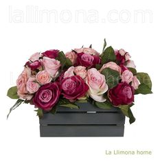 Ramo artificial flores rosas cereza 21