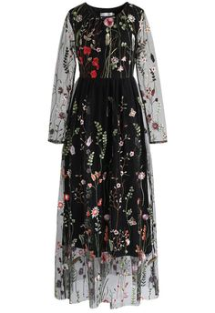 Serve up goth fairy princess vibes with this black mesh maxi dress boasting colorful florals all over it.   - Round neckline - Mesh fabric with floral embroidery - Concealed side zip closure - Lined - 100% Polyester; Lining: 65% Polyester, 35% cotton - Hand wash cold  Size(cm)Length  Bust  Waist  Shoulder  Sleeves   XS                135      81       62        36           57 S                  136      85       66        38           58 M                137       89       70         40    …