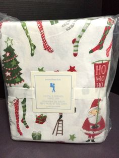 2014 Pottery Barn Kids SANTA Friends Queen Sheet FLANNEL Christmas Holiday NEW #PotteryBarnKids #Patterned