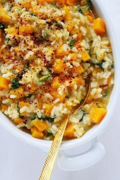 Butternut Squash Kale Risotto Naive Cook Cooks A very Popular Pin for fall! Side Dish Recipes, Veggie Recipes, Dinner Recipes, Cooking Recipes, Vegan Butternut Squash Recipes, Butternut Squash Side Dish, Dinner Ideas, Healthy Meals, Healthy Eating