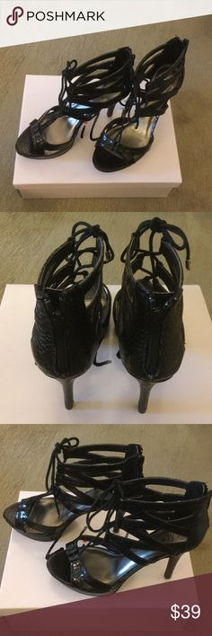"""Wild Pair black dress sandals - NIB Gorgeous man made animal textured uppers with front lace closure and back zippers.  Sexy!!!!  Platform height is 3/4"""", heel height is 4 1/4"""" Wild Pair Shoes Heels"""