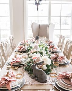 "HollyJ on Instagram: ""I can't believe it's almost Easter! I wanted to share another view of my Pink and Gray Easter tablescape with you today. The details are up…"""