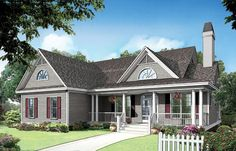 The Huntington, Plan 714 Stunning arched windows framed by bold, front facing gables add to the tremendous curb appeal of thi