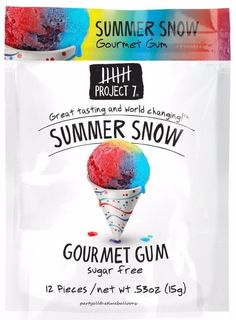 3 Packs Project 7 SUMMER SNOW Gourmet Gum NEW FLAVOR Free Shipping USA MADE #Project7