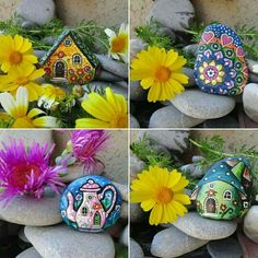Pretty Easter painted rocks