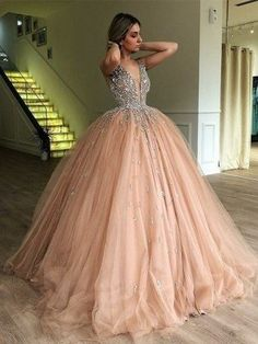 Cute Prom Dresses, Stylish Ball Gown V-neck Sleeveless Sweep/Brush Train With Beading Tulle Dresses Shop plus size prom dresses and full figured formal gowns with an affordable price. Discounted party/evening wears for large ladies are up to Off. Tulle Ball Gown, Ball Gowns Prom, Tulle Prom Dress, Ball Gown Dresses, Evening Dresses, Formal Dresses, Party Dress, Formal Wear, Sexy Dresses