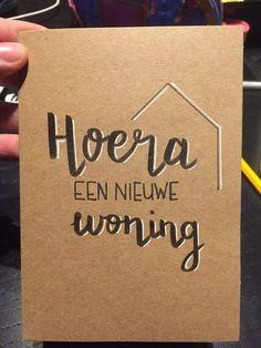 Verhuizen Doodle Lettering, Brush Lettering, Diy Postcard, Housewarming Card, Diy Cards, Word Art, Zentangle, Paper Shopping Bag, Doodles