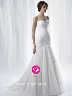 Sirène Col En V Traîne Moyenne Robe De Mariée En Tulle Avec Perle Dentelle
