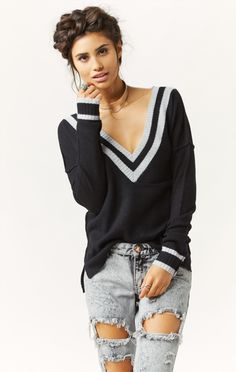 double deep v cashmere sweater by 27 MILES #planetblue