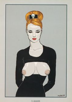 Comic ex-libris and prints - Print - X queen Jean Giraud, Ex Libris, Moebius Art, Serpieri, Graffiti, Bd Comics, Illustrations, Comic Artist, Comic Book