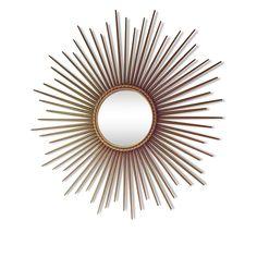 Miroir soleil Chaty Vallauris AM signé 1950/60 - Laiton - Doré - Bon état - Vintage - 83313