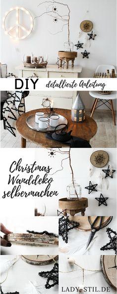 Weihnachtsdeko einfach selber machen! Aus Federn, Sternen, einer Baumscheibe sowie einem Mandala! Ausgefallenes DIY im Bohostil