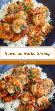 Hawaiian Garlic Shrimp Juicy prawns cooked in a garlicky buttery sauce, this Hawaiian Garlic Shrimp is similar to the shrimp vans you'd find in Hawaii. Shellfish Recipes, Seafood Recipes, Cooking Recipes, Healthy Recipes, Garlic Shrimp Recipes, Asian Recipes, Easy Recipes, Shrimp Dishes, Fish Dishes