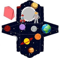 Fábrica de Sonhos: Caixinhas Astronauta - 1 Astronaut Party, Outer Space Party, Diy And Crafts, Paper Crafts, Science Projects For Kids, Sons Birthday, Paper Toys, Baby Boy Shower, Bernardo