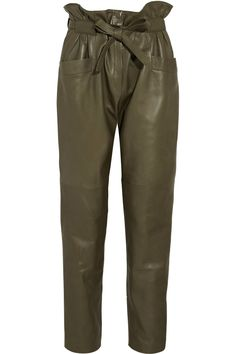 Emilio Pucci Lederhose in Khaki Brown Leather Pants, Leather Skinny Jeans, Leather Trousers, Brown Pants, Green Leather, Emilio Pucci, Elle Blogs, Slouchy Pants, Army Pants