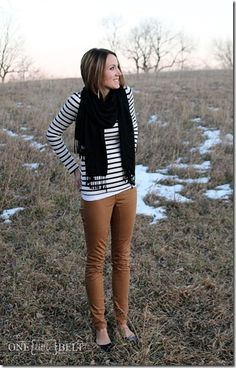 Business casual work outfit: black and white striped top, camel skinnies, black scarf & shoes. I'd wear with black heels or boots.