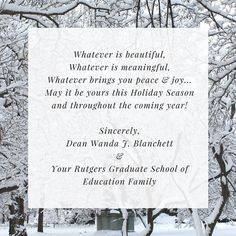 Happy Holidays from Dean Blanchett and the Rutgers Graduate School of Education family!