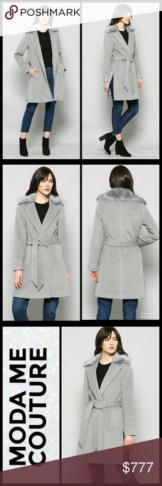 Chic and Classy Gray Coat Brand new Boutique item Price is firm Bundle to save  This timeless and chic heather gray coat features a fabulous faux fur collar, side pockets, unique slits on side add a modern twist to this jacket, cinch at waist with belt or wear open. This coat is a must have for the season!!      Fall winter jackets coats gray trench coat over coat classic classy MODA ME COUTURE Jackets & Coats Trench Coats