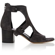 Rag & Bone Women's Matteo Double-Buckle Sandals ($269) ❤ liked on Polyvore featuring shoes, sandals, dark grey, open toe sandals, leather sole shoes, open toe shoes, adjustable strap sandals and leather sole sandals