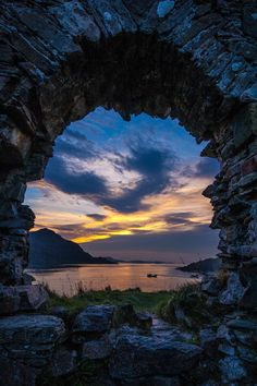 Scotland -- Strome Castle Ruins #uk england sunset sun sunrise sky landscape reflection wilight highlands