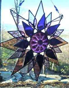Stained Glass Sun Catcher,Stained glass,Recycled Glass, Flower, Suncatcher, Starburst, Crystal via Etsy