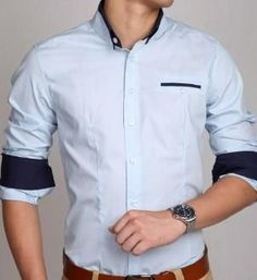 Mens Button Down Shirt with Double Collar