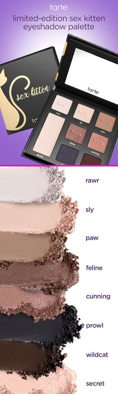 Swatches of our NEW limited-edition sex kitten eyeshadow palette! Features a mix of classic neutrals & smoky shadows plus a pearly eye & cheek highlighter! #tartecosmetics #tarteDDB