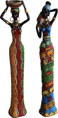 ChabaLine 18 Inches Tall Set African Women Figure Decor Art Statues Sculptures - Human Decorative Home Black Figurines for Table Top or Floor . African Beauty, African Women, Black Figurines, Afrique Art, African Art Paintings, African Dolls, African Sculptures, Clay Art Projects, Art Africain