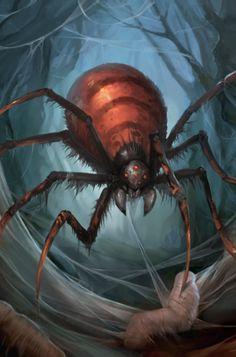 f Giant Spider web forest wilderness Doomweaver by lg Forest Creatures, Weird Creatures, Fantasy Creatures, Mythical Creatures, Spider Art, Giant Spider, Spider Webs, Fantasy Monster, Monster Art