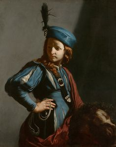 Guido Cagnacci - David with the Head of Goliath [c.1645-50] | [Getty Centre, Los Angeles - Oil on canvas, 42.5 x 33.75 inches]
