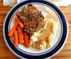 Instant Pot Braised Pork Chops Mashed Potatoes, Gravy & Carrots