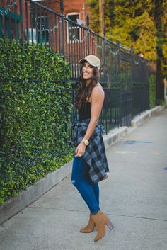 flannel button down shirt, flannel button down dress, buffalo check dress, buffalo check shirt, buffalo check shirt jacket, washed baseball cap, cognac booties, fall fashion, fall style, fall outfit ideas, casual style, southern fashion blogger // grace wainwright a southern drawl