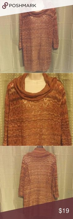 Catherines Orange Brown Thin Turtleneck Top 3X Wonderful condition. Great fall colors. Light weight. Loose knit. 59% ramie 23% acrylic 18% polyester. Catherines Tops Blouses