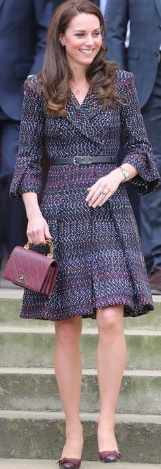 Kate Middleton: Necklace and earrings – Cartier Coat, belt, and purse – Chanel