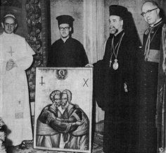 Metropolitan Meliton of Heliopolis offers a specially commissioned icon of Sts. Peter and Andrew to Pope Paul VI.