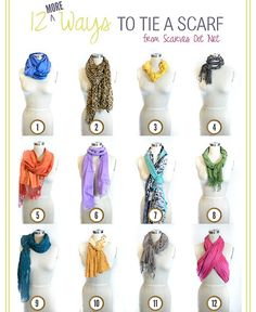 truebluemeandyou: DIY Twelve More Ways to Tie a Scarf here from here. For more ideas on DIYing scarves, scarf storage and alter… Ways To Wear A Scarf, How To Wear Scarves, Tie Scarves, Wearing Scarves, Folding Scarves, Diy Fashion, Fashion Beauty, Fashion Tips, 1950s Fashion