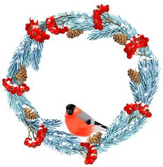 Blue Winter Wreath with Bird PNG Clip Art Image