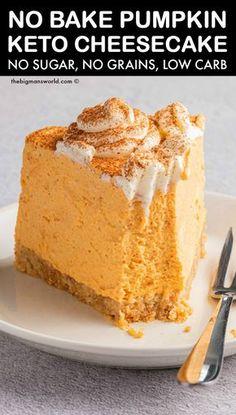 Sugar Free Desserts, Sugar Free Recipes, Diabetic Desserts Sugar Free Low Carb, Sugar Free Baking, Low Carb Sweets, Low Carb Desserts, Health Desserts, Vegan Desserts, Low Carb Pumpkin Cheesecake
