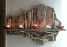 Wood craft made by driftwood Driftwood Shelf, Driftwood Furniture, Driftwood Projects, Driftwood Sculpture, Seaside Decor, Wood Stone, Wood Creations, Beach Crafts, Craft Stick Crafts